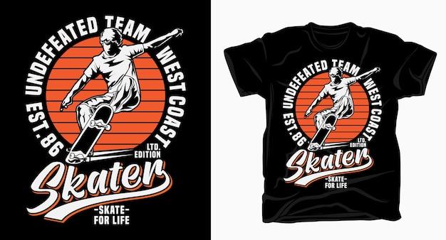 Tipografia de skatista da equipe invicta da costa oeste para impressão de camiseta