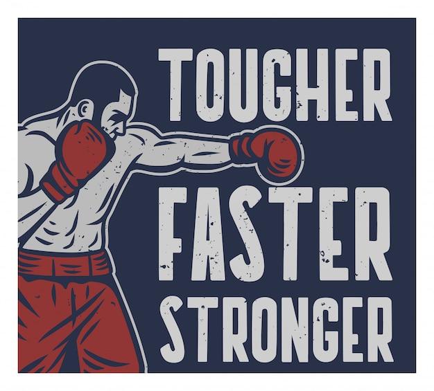 Tipografia de slogan de citação de boxe