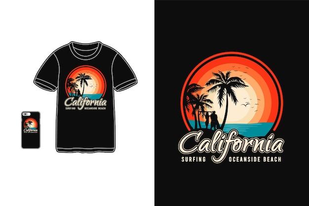 Tipografia de surf da califórnia em produtos para camisetas e dispositivos móveis