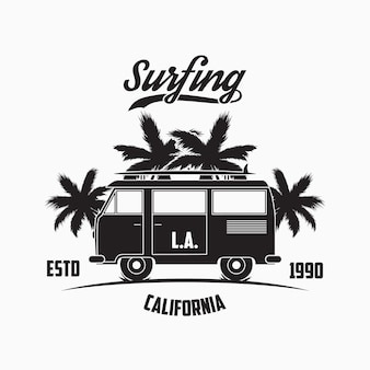 Tipografia de surfe da califórnia los angeles com palmeiras e pranchas de ônibus de surfe