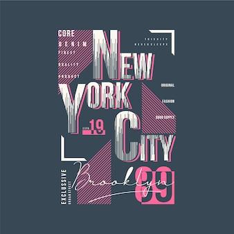 Tipografia de t-shirt gráfico de moldura de texto em nova york