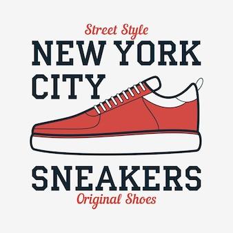 Tipografia de tênis new york para design de camiseta de roupas com calçados esportivos
