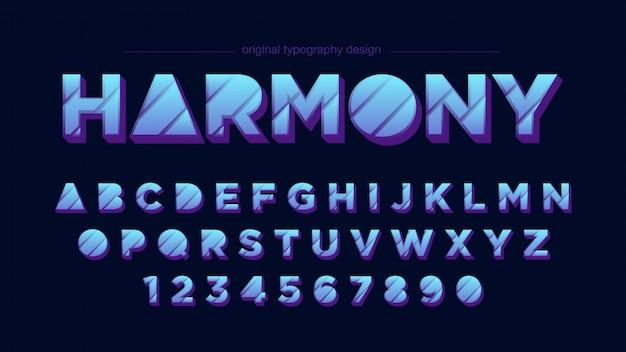 Tipografia de tons de azul abstrato