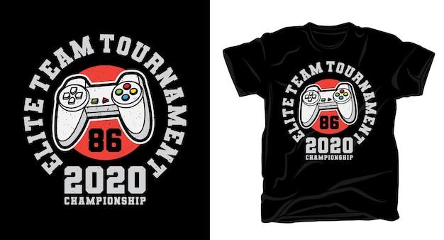 Tipografia de torneio de time de elite com design de camisa de controlador de jogo