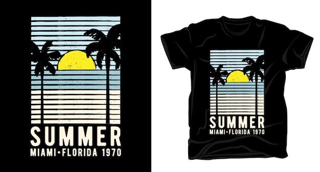 Tipografia de verão miami florida com palmeiras e design de camisetas para o sol