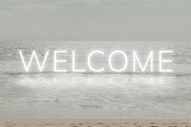 Tipografia de vetor de palavra neon branca de boas-vindas