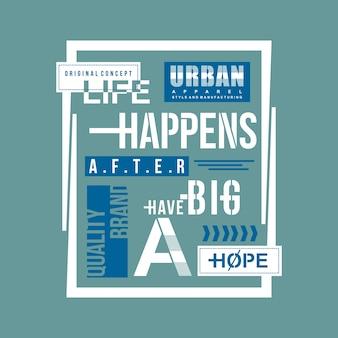 Tipografia de vida urbana t design de camisa, gráfico de vetor