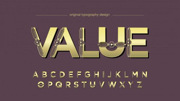 Tipografia decorativa de ficção científica dourada