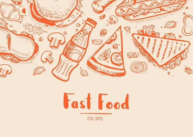 Tipografia desenhada mão de fast-food