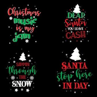 Tipografia design de camisetas de natal