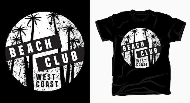 Tipografia do clube de praia na costa oeste com camiseta de textura