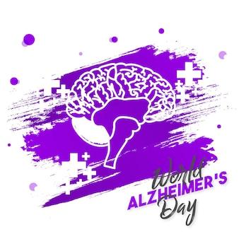 Tipografia do dia mundial de alzheimer com ilustração vetorial de cérebro