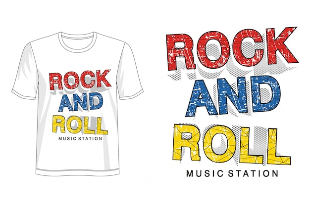 Tipografia do rock and roll para imprimir camiseta