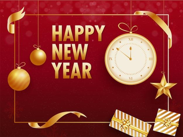 Tipografia dourada de feliz ano novo com relógio, enfeites, estrelas e caixas de presente no vermelho de suspensão. cartão de felicitações