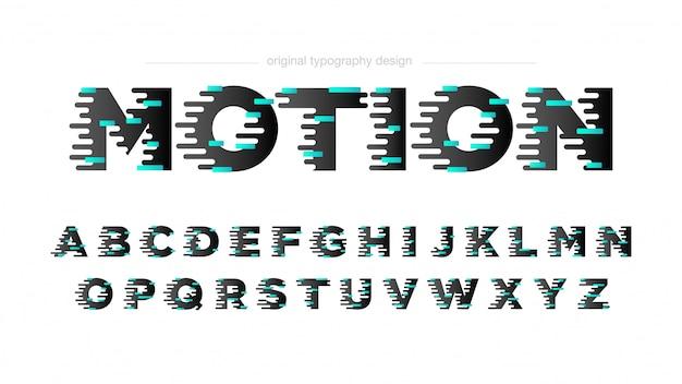 Tipografia efeito movimento abstrato