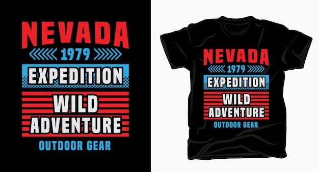 Tipografia elegante de aventura em nevada para design de camisetas