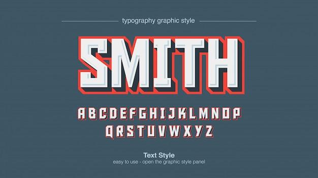 Tipografia em branco maiúscula quadrada em negrito com traço vermelho