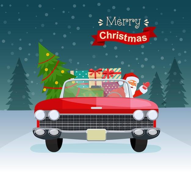 Tipografia estilizada de feliz natal. cabriolet vermelho vintage com papai noel, árvore de natal e caixas de presente. ilustração em vetor estilo simples