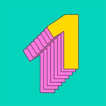 Tipografia estilizada número um em camadas