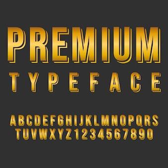 Tipografia estilo alfabeto premium. fonte moderna tipográfica decorativa. conjunto de design de letras e números.