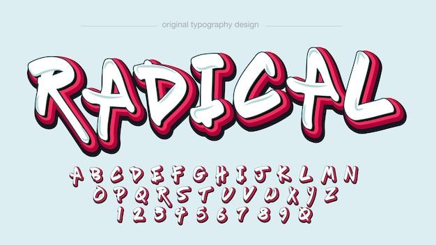 Tipografia estilo graffiti branco e vermelho