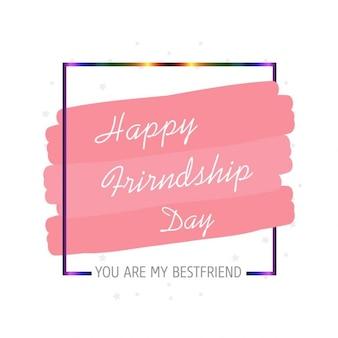 Tipografia feliz dia da amizade sobre o rosa pincelada