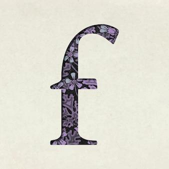 Tipografia floral vintage com letra f minúscula roxa