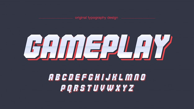 Tipografia futurista de cromo vermelho