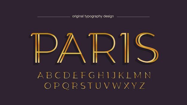 Tipografia golden elegant headline thin line