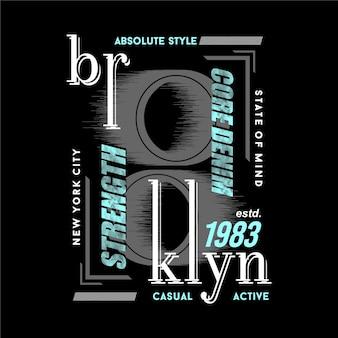 Tipografia gráfica abstrata de quadro de texto de brooklyn nyc