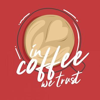 Tipografia ilustração mão lettering café citação