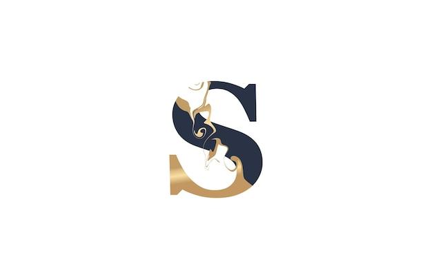 Tipografia inicial s linked artístico marble paint em forma de ouro