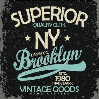 Tipografia jeans, gráficos de camisetas, design de impressão vintage wear