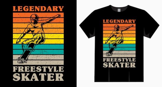Tipografia lendária de skatista de estilo livre vintage para design de camisetas