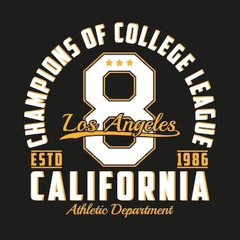 Tipografia los angeles califórnia para design de roupas gráficos para impressão de tshirt com número de produto