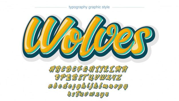 Tipografia manuscrita colorida estilo gráfico