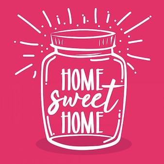 Tipografia mão lettering lar doce lar citações em mason jar