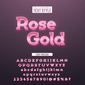 Tipografia metálica elegante em ouro rosa 3d