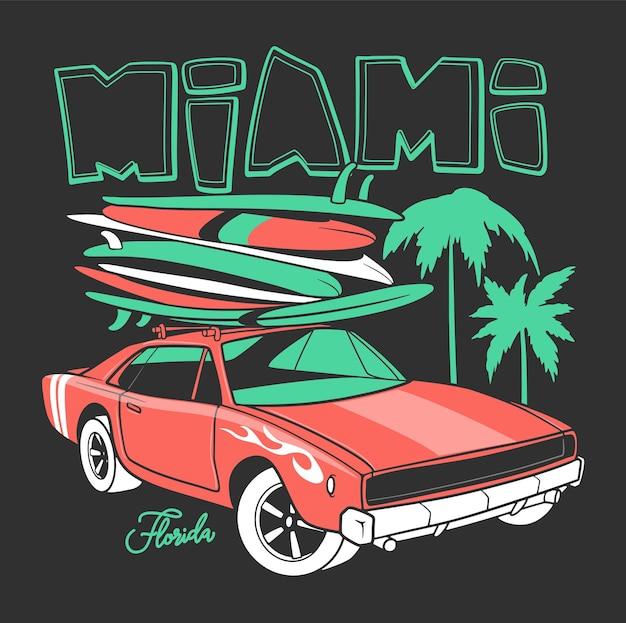 Tipografia miami para impressão de camisetas e carro retro com prancha de surf.