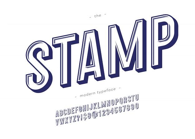 Tipografia moderna de fonte em negrito de carimbo de vetor