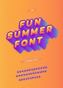 Tipografia moderna divertida de verão fonte 3d estilo negrito para cartaz de festa