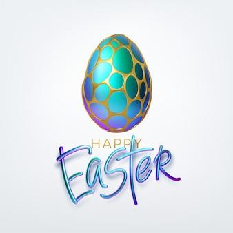 Tipografia moderna na moda dourada metálica brilhante feliz páscoa em um fundo de ovos de páscoa