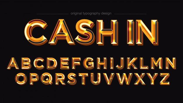 Tipografia negrito brilhante dourado