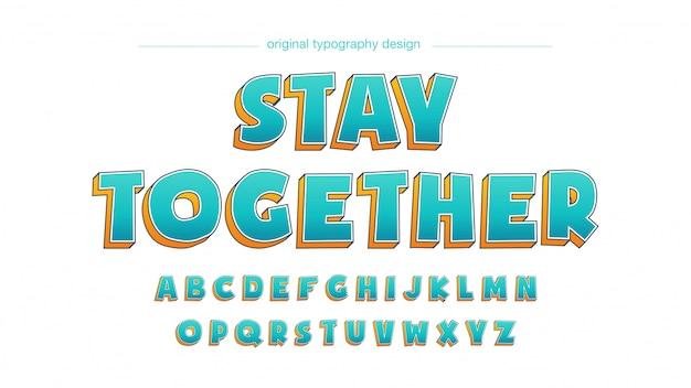 Tipografia negrito dos desenhos animados laranja azul