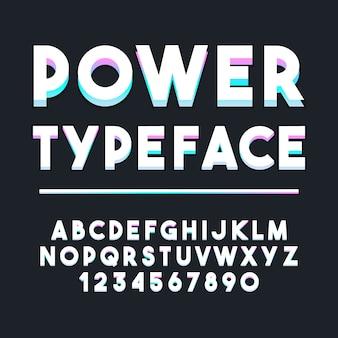 Tipografia neon alfabeto estilo. fonte moderna tipográfica decorativa. conjunto de design de letras e números.