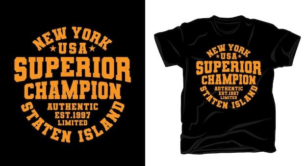 Tipografia new york superior champion para design de camisetas