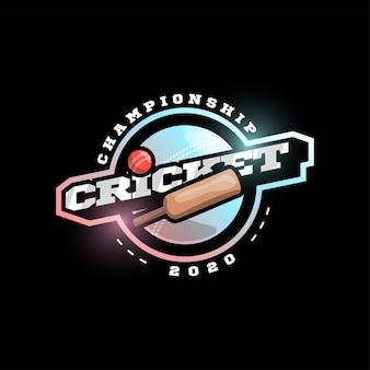 Tipografia profissional moderna críquete esporte super herói estilo emblema e modelo de design de logotipo com bola. saudações engraçadas para roupas, cartão, crachá, ícone, cartão postal, banner, etiqueta, adesivos, imprimir.