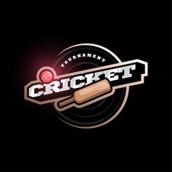 Tipografia profissional moderna críquete esporte super herói estilo emblema e modelo de design de logotipo com bola.