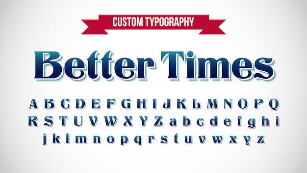 Tipografia retrô azul escuro elegante com serifa