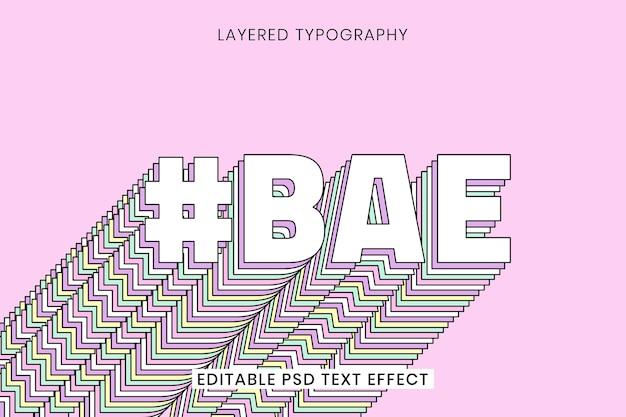 Tipografia retro multicamadas bae